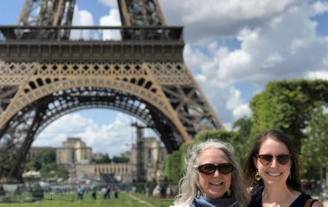 A photo of Mrs. Katie Eissler-Thiel and Madame Cooper in front of the Tour Effiel during the 2020 French Summer Exchange Program