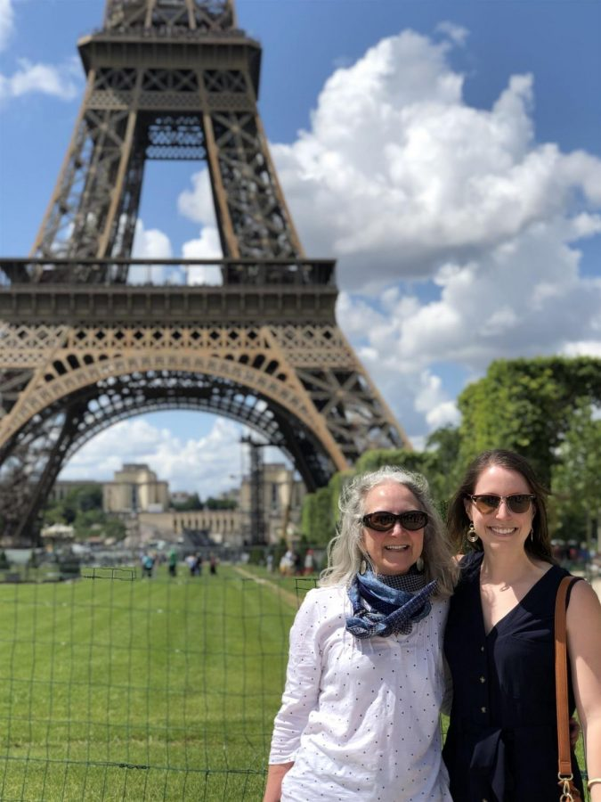 A+photo+of+Mrs.+Katie+Eissler-Thiel+and+Madame+Cooper+in+front+of+the+Tour+Effiel+during+the+2020+French+Summer+Exchange+Program