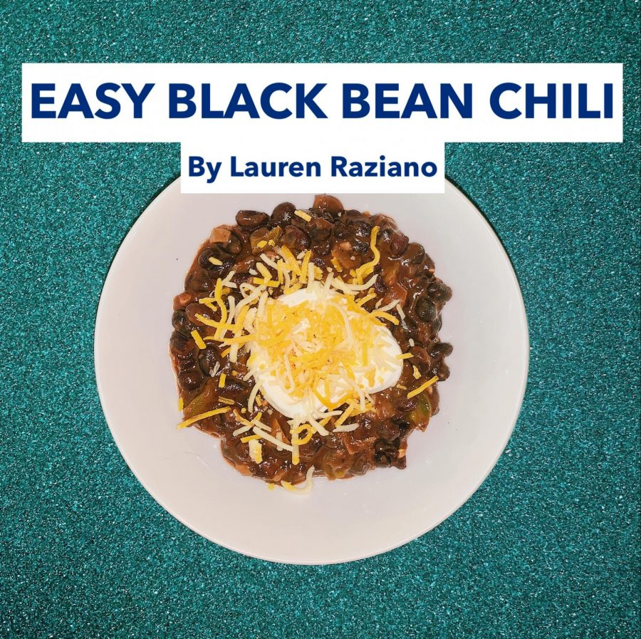 Easy Black Bean Chili garnished with Sour Cream and Mexican Cheese