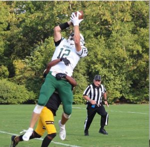 Conor Udovich #12 catching his second touchdown pass of the game to increase the Auks lead.