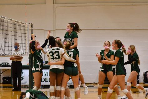 Archmeres Varsity Volleyball team celebrating their win over Red Lion Christian Academy. Photo taken by Mrs. Mccann P22.