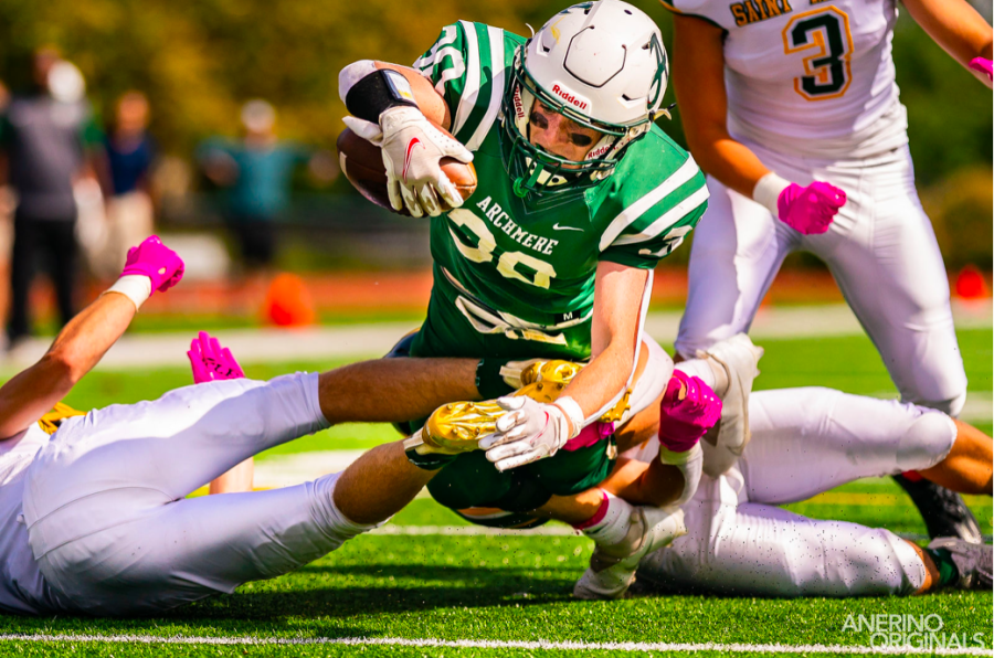 Declan Pearson dives for Archmeres only touchdown of the day. Photo credits go to Mr. Anerino P23